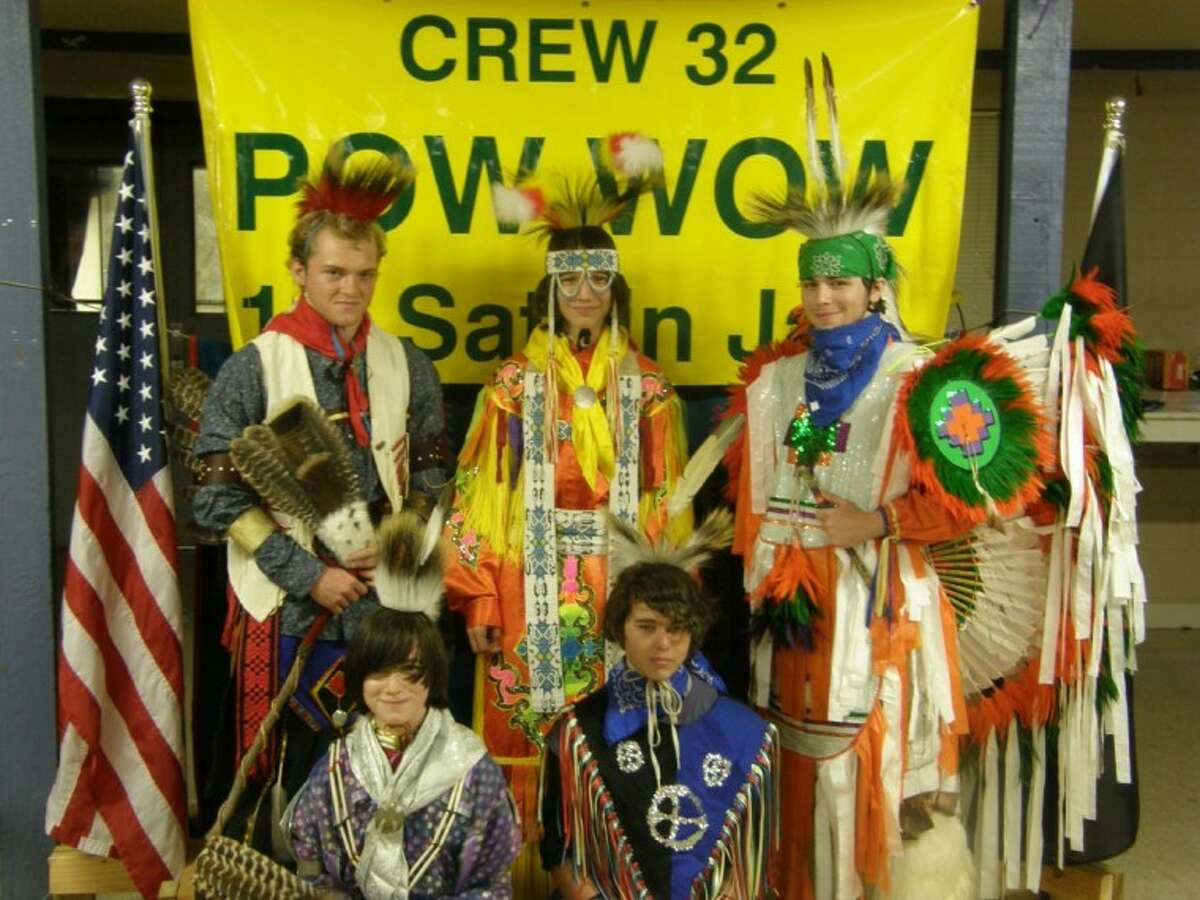 The eight members of Venturing Crew 32 and their adult advisers work together to organize the public pow-wow, complete with traditional Native American dress.