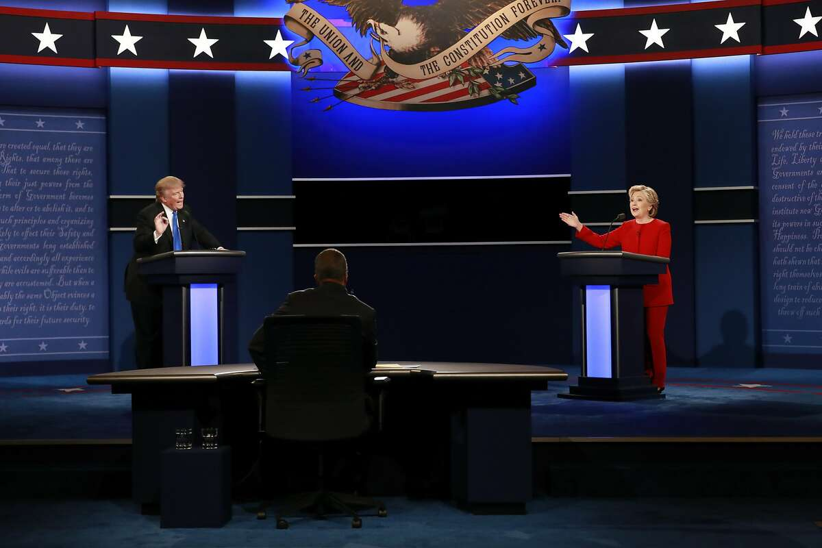 Hillary Clinton and Donald Trump speak during the first presidential debate, at Hofstra University in Hempstead, N.Y., Sept. 26, 2016. As the two clashed at the debate Monday over which one has the �stamina� and �temperament� to be president, more than a few viewers turned to the internet to understand exactly what those words meant. Merriam-Webster, which tweeted updates on word searches during the presidential debate, tracked the most-searched terms. (Doug Mills/The New York Times)