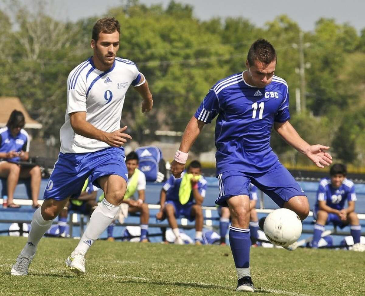 San Jacinto College freshman forward Guillermo Alvarez (left) receives National Junior College Athletic Association (NJCAA) All-American First-team honors after finishing the 2011 season with 15 goals and four assists for 34 points.