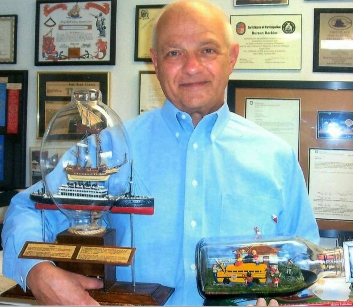 Fort Bend County Libraries' First Colony Branch Library, 2121 Austin Parkway in Sugar Land, will feature an exhibit of glass-encapsulated miniatures fFrom the studio of Sugar Land resident Burton D. Reckles throughout January.