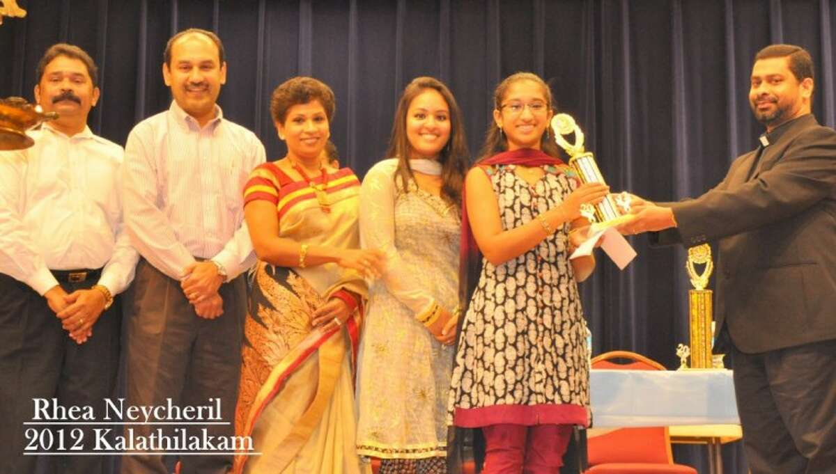 At the 6th Houston Knanaya Catholic Society Yuvajanolsavam Competition, 13 year-old Rhea Neycheril from Missouri City, Texas took home the prized Kalathilakam Award.
