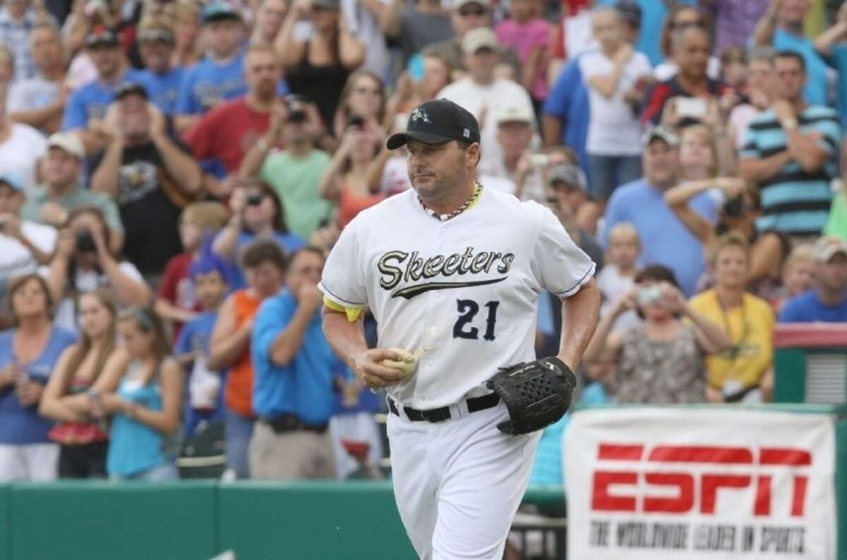 Roger Clemens pitched two exciting games for the Skeeters late in the season, throwing eight scoreless innings.