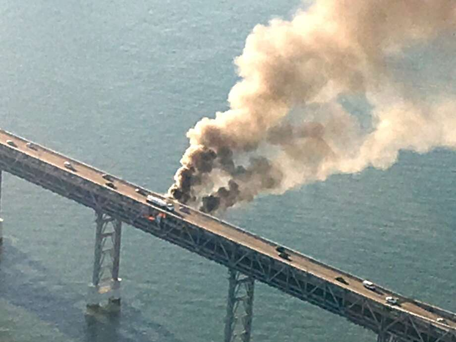 Sky1Ron took this overhead photo of a big rig on fire on the Richmond-San Rafael bridge Tuesday morning, Sept. 27, 2016. Photo: Bigrig0928