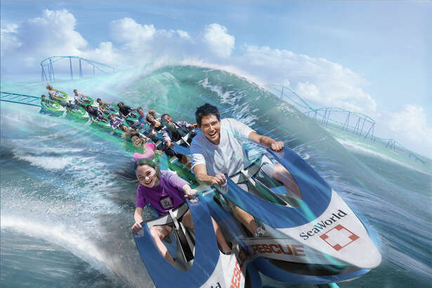 """Shown is a rendering of SeaWorld Entertainment Inc.'s """"Wave Breaker: The Rescue Coaster."""" The roller coaster, intended to simulate animal rescue operations, is slated to open at the theme park chain's San Antonio park in summer 2017."""