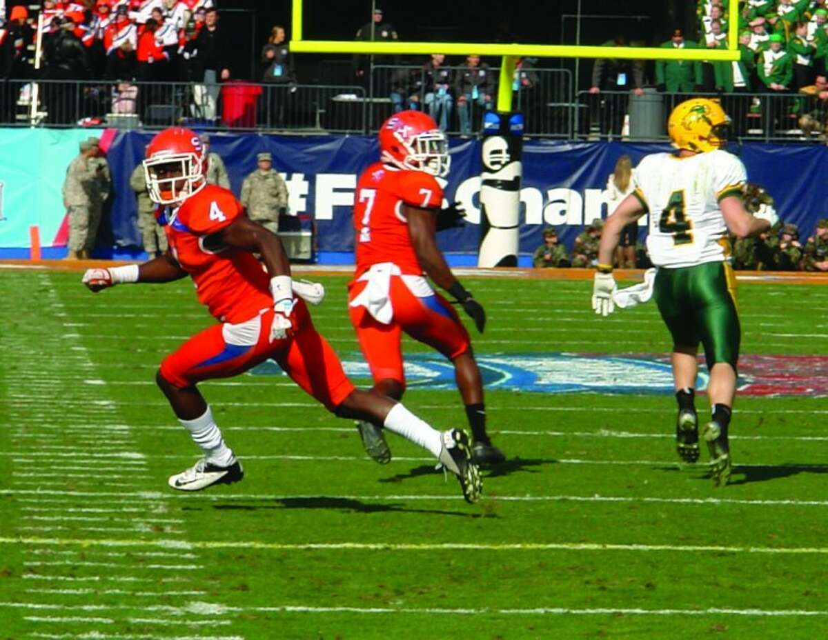 Sam Houston State University cornerback Bookie Sneed (4), a Conroe High School graduate, drops back into coverage during Saturday's national championship game.