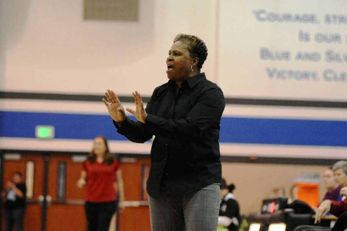 Clear Springs head coach Pam Crawford signals to her team during the Lady Chargers' win over Clear Brook Friday night.
