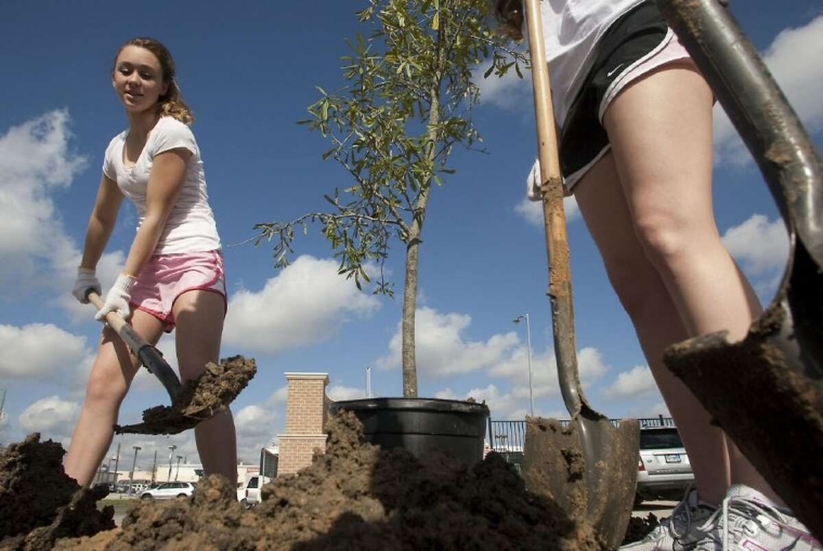 St. Agnes Academy Hannah Kendall with the help of around 150 volunteers plant trees around the athletic field complex on Saturday.
