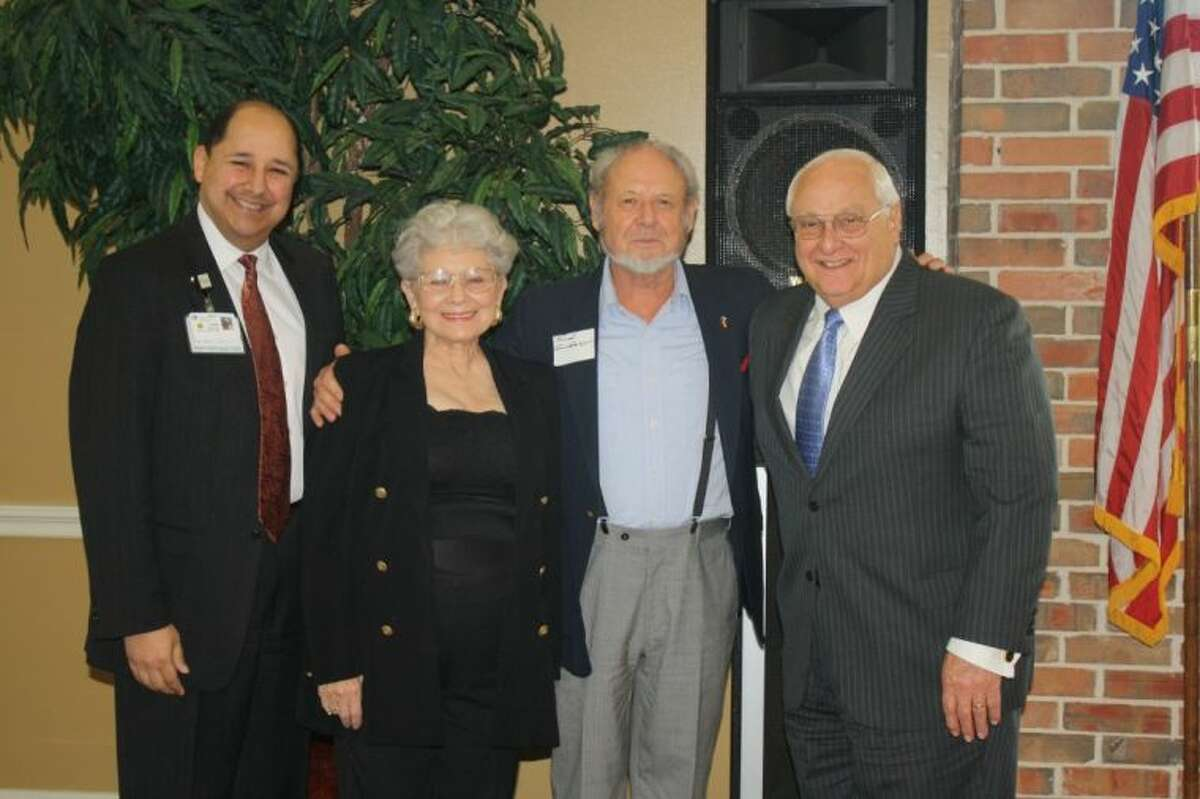 36-plus year members L-R (Houston NW Medical Center, COO, Juan Fresquez, Lou Shirley, Fred Grundmeyer, Judge J. Kent Adams