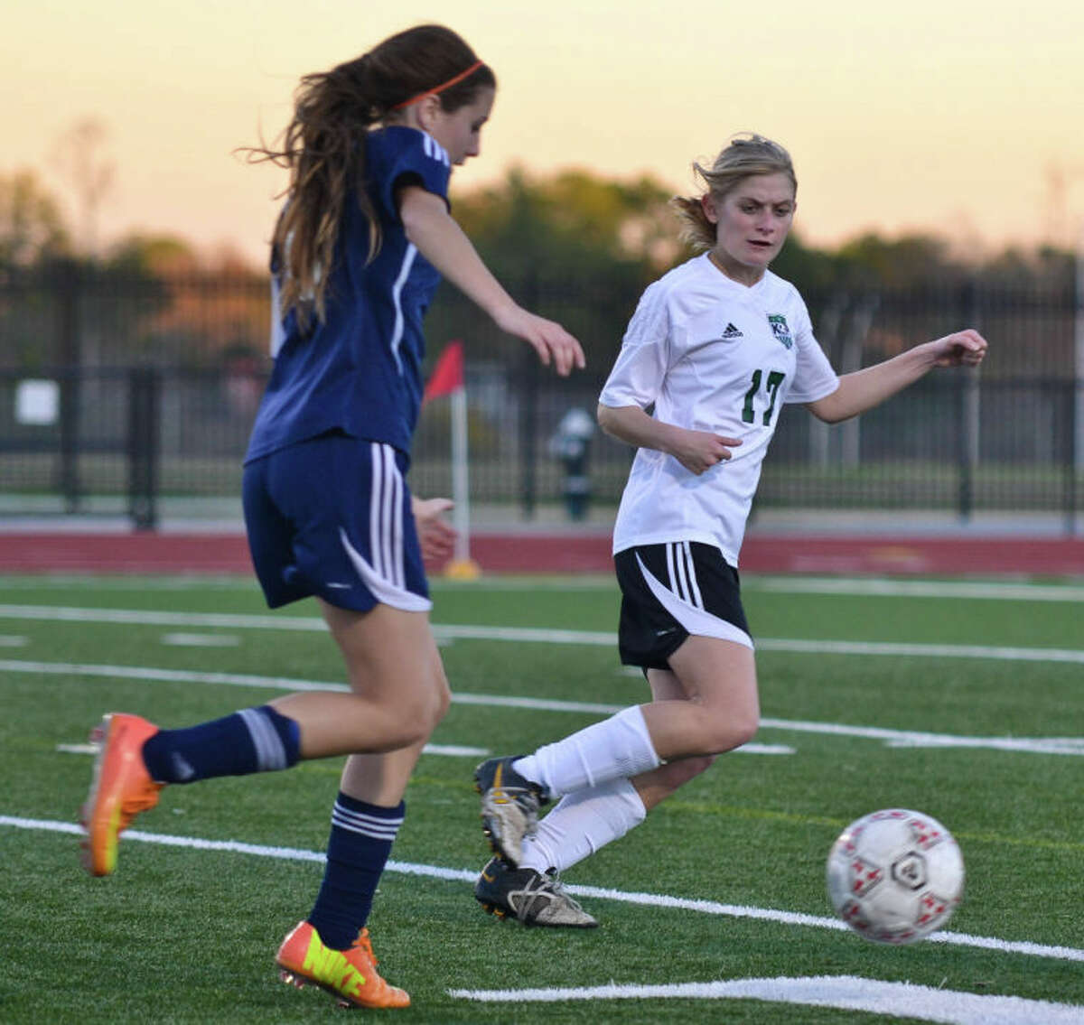 Kingwood Park's Katie Plummer defends as a Klein Collins forward dribbles downfield during the second half of the Lady Panthers' 2-0 win in the opening round of the Humble ISD Women's Soccer Invitational on Jan. 10 at Turner Stadium in Humble.