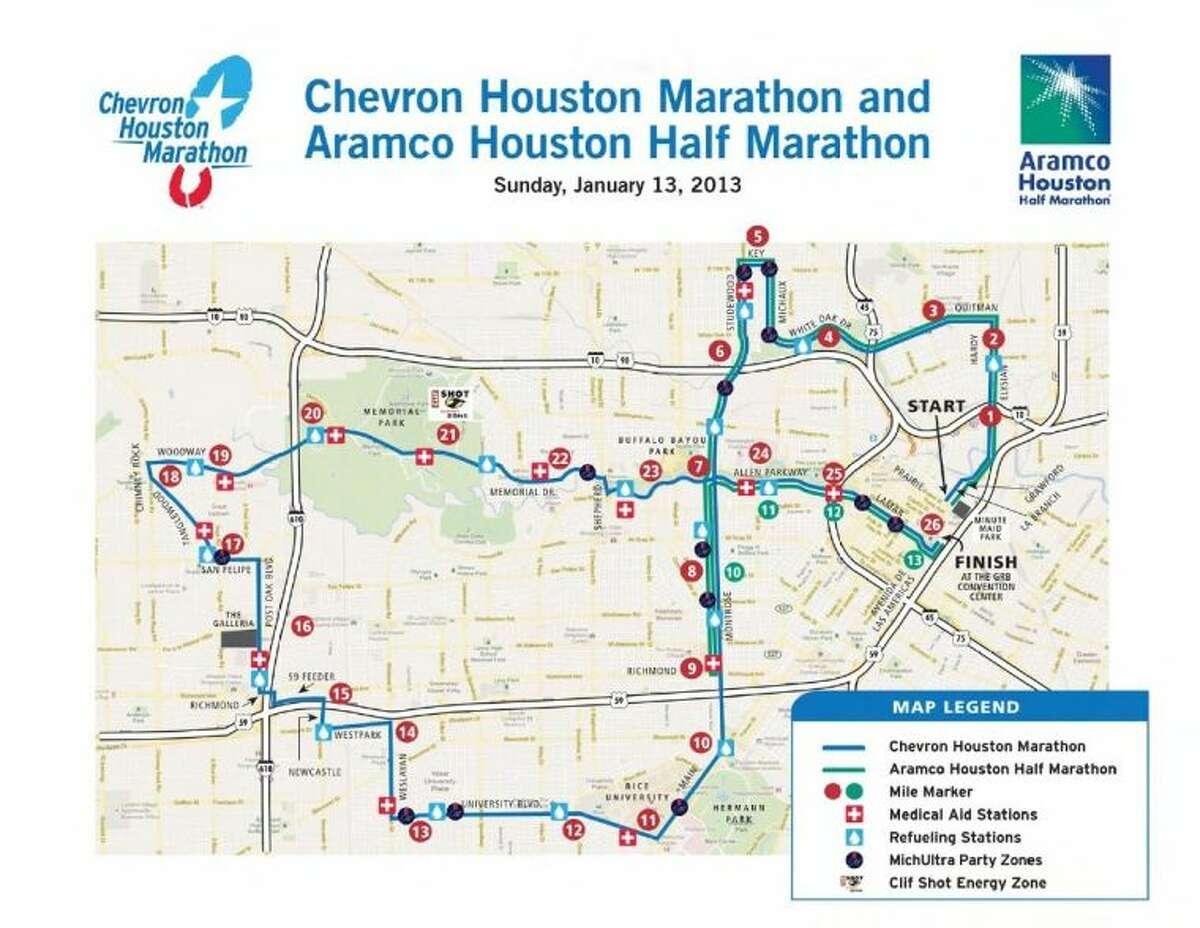 Course map for Sunday's 41st Chevron Houston Marathon and Half-Marathon.