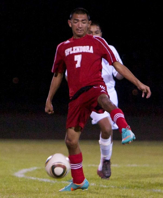 Splendora's Flavio Sanchez controls possession during Friday night's Kat Cup match in Willis.