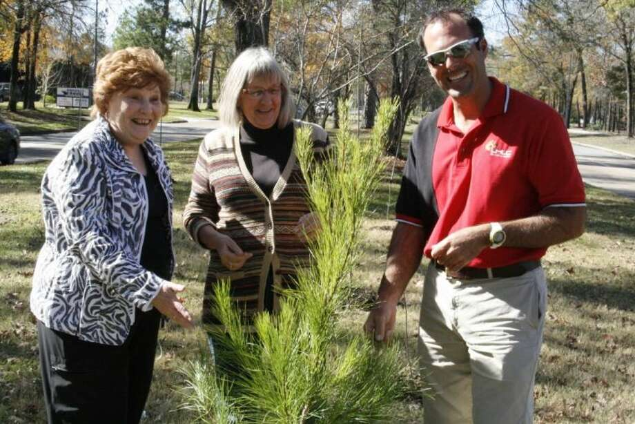 "From left, Ann Korenek and Kate Henderson with the Kingwood Garden Club and Shawn Smith with Lake Houston Lawn Care, check out the progress of some of the trees planted on the neutral ground of Kingwood Drive as a part of the club's ""Reforest the Forest"" tree sale and project."