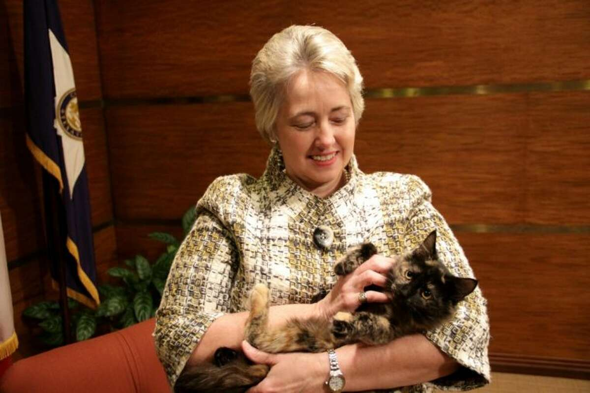 Mayor Parker with Cleo, who is an absolutely beautiful kitty. Her tortoiseshell coloring is quite unique and beautiful and her coat is extremely soft. She is as laid back as they come. She loved being held by Mayor Parker during the Pets of the Week photo shoot and was in no hurry to leave the Mayor's arms. She would make a wonderful lap cat for a family that enjoys having a cuddle buddy at movie time. She also gets along well with other cats. This sweet cat was even a huge hit at the recent Houston Cat Show where she got lots of attention and love. Cleo, along with the many other kittens and cats that are available for adoption at BARC, deserves a wonderful home. Cleo was fostered for a while by a BARC volunteer, but now she is ready to go home with a permanent family. Cleo is spayed, has age-appropriate vaccinations, has a city license and is microchipped.