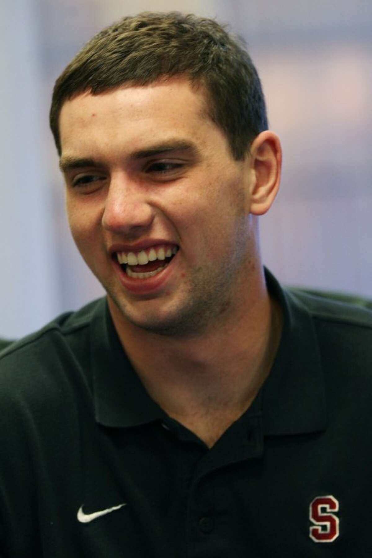 Heisman candidate Andrew Luck, quarterback for Stanford, speaks to reporters during a news conference on Friday, Dec. 10, 2010, in New York. (AP Photo/Andrew Burton)