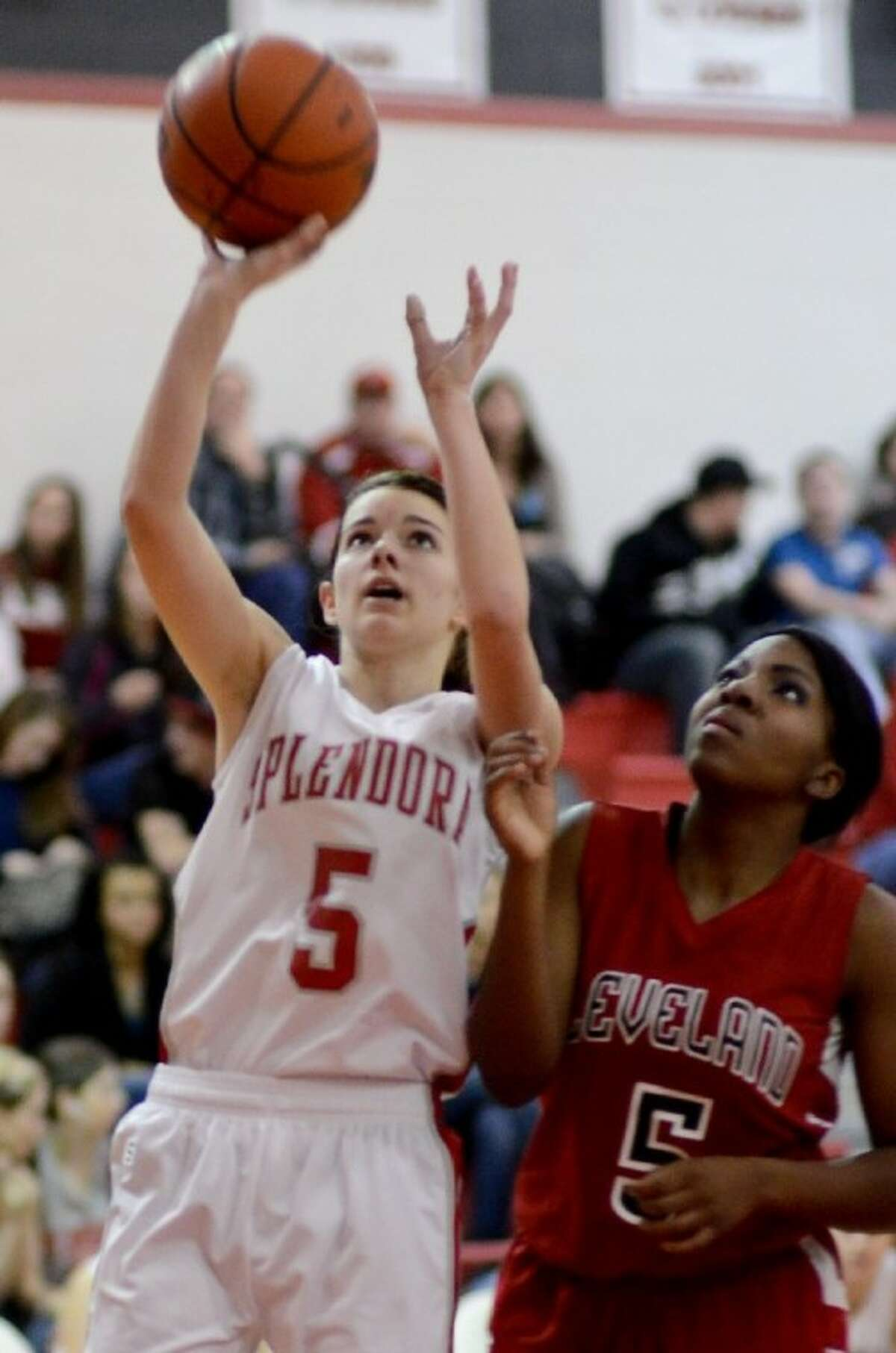 Emily Tuxford scored 13 points in Splendora's 42-32 win over Cleveland Jan. 4.