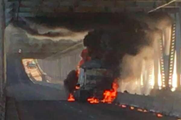 Schyler Mcnally captured video of a big rig on fire on the eastbound Richmond-San Rafael bridge Tuesday morning, Sept. 27, 2016