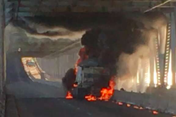 Schyler Mcnally captured video of a big rig on fire on the eastbound Richmond-San Rafael bridge Tuesday morning, Sept. 27, 2016