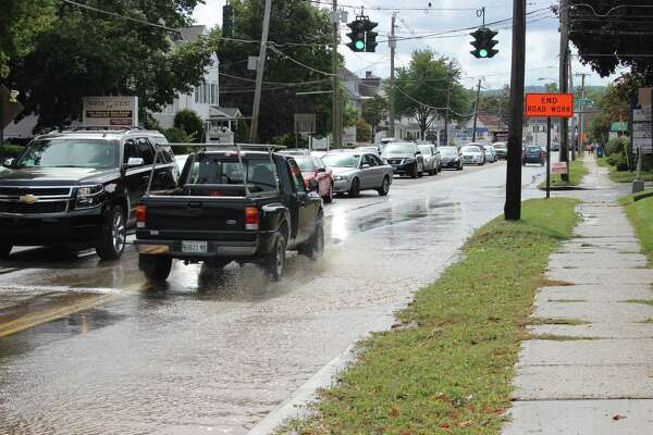 Traffic was congested on North Street near the intersection with Interstate-84 in Danbury because of a water main break on Tuesday, Sept. 27, 2016. Water flooded both sides of the street.