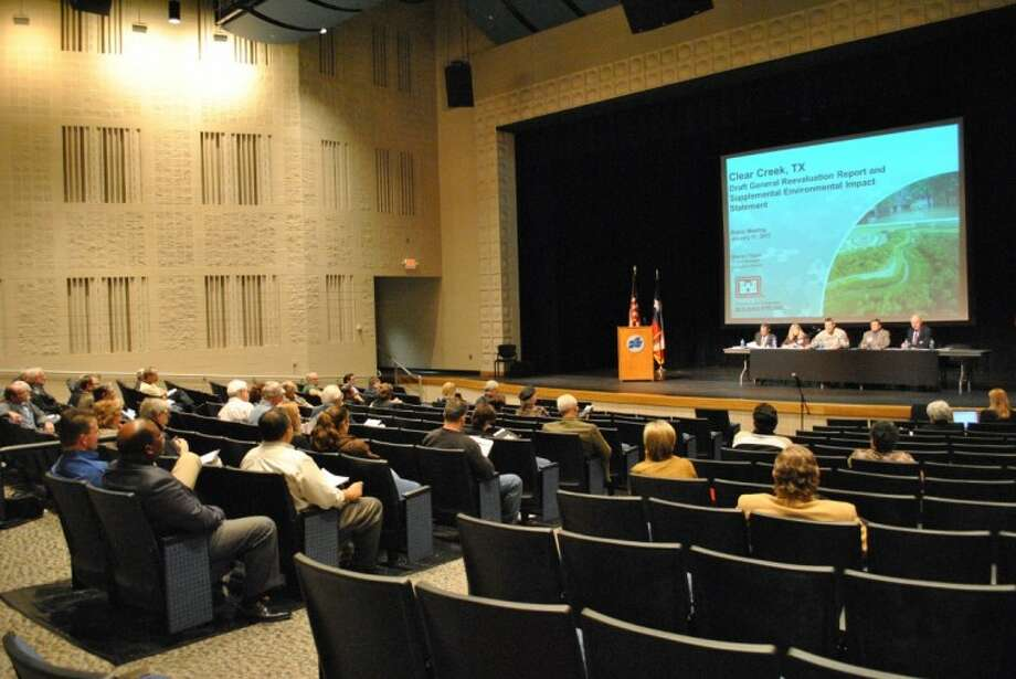 Project members from the U.S. Army Corps of Engineers, Harris County Flood Control District, Brazoria Drainage District No. 4 and Galveston County present the Clear Creek Flood Control Project at San Jacinto College Wednesday, Jan. 11.