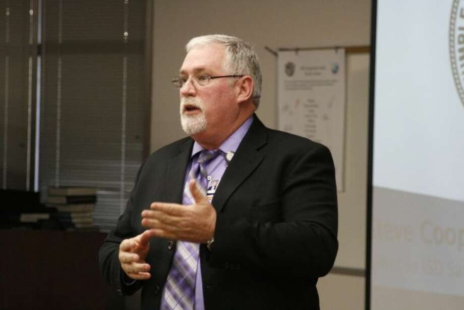 Steve Cooper, director of safe and secure schools, explained efforts to make schools in Humble ISD safer and more secure at the Humble BizCom meeting Jan. 10.
