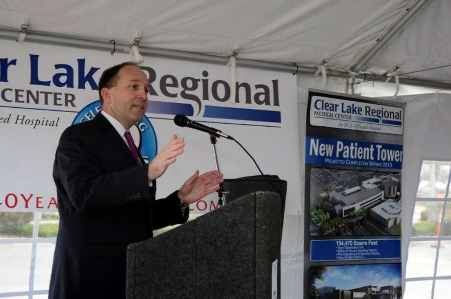 Clear Lake Regional Medical Center Chief Executive Officer Stephen K. Jones speaks to a crowd during a ceremony celebrating the breaking ground of an expansion of the facility Thursday, Jan. 12.