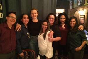 Taylor Schilling, star of 'Orange is the New Black' (third from left), and Rosie O'Donnell (third from right) visited with the San Antonio Four, from left, Kristie Mayhugh, Anna Vasquez, Elisabeth Ramirez and Cassie Rivera, as well as filmmaker Deborah S. Esquenazi during festivities surrounding the New York screening of 'Southwest of Salem: The Story of the San Antonio Four.'