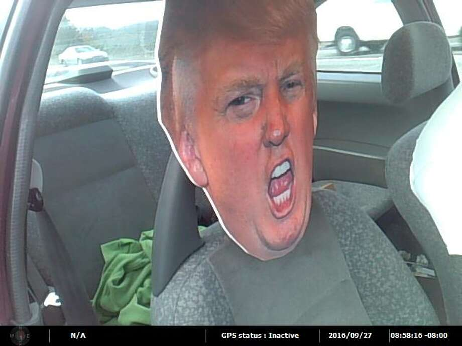 State troopers pulled over an HOV-lane violator Sept. 27, 2016 on state Route 167 in Auburn for trying to pass a cardboard cutout of presidential candidate Donald Trump's head as a passenger. See other HOV offenders. Photo: Washington State Patrol