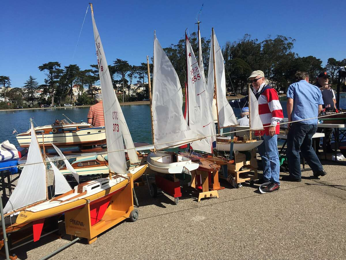 Carl Brosius and a fleet of boats in Golden Gate Park.