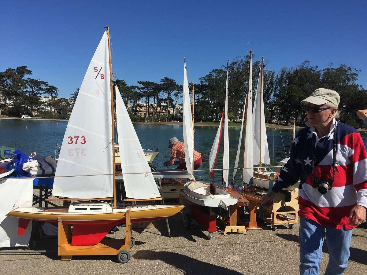 Carl Brosius and his boats at Spreckles Lake.