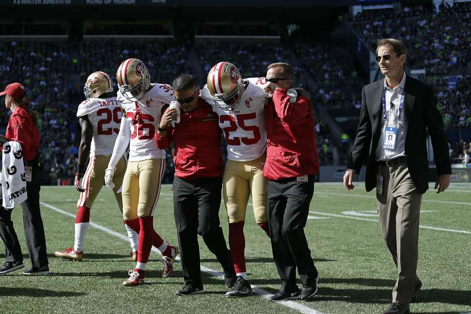 Jimmie Ward exits the 49ers' 37-18 loss in Seattle on Sunday. Photo: John Froschauer, Associated Press