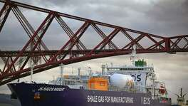 Ineos Insight, the first ship carrying shale gas from the U.S., arrives Tuesday in the Firth of Forth en route to Grangemouth Oil refinery in Edinburgh, Scotland. The tanker is the first of eight shipping ethane from U.S. shale fields, in a $2 billion dollar investment by chemical company Ineos.