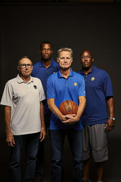 From left,  assistants Ron Adams and Jarron Collins, head coach Steve Kerr and lead assistant Mike Brown. Photo: Russell Yip, The Chronicle