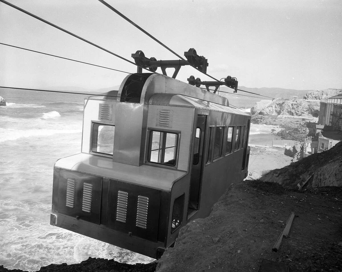 Construction of Whitney Bros. Aerial Tramway, Sky Tram ran from Cliff House past the Sutro Baths to Point Lobos is nearing completion 03/301955