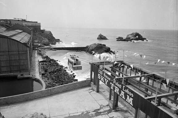 Opening of Whitney Bros. Aerial Tramway, Sky Tram ran from Cliff House past the Sutro Baths to Point Lobos is nearing completion  05/021955