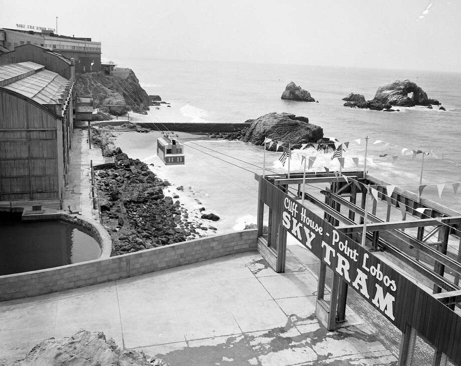 The Whitney Bros.' Sky Tram ran from the Cliff House past the Sutro Baths to Point Lobos. It was open from 1955 to 1966. Photo: Joe Rosenthal, The Chronicle