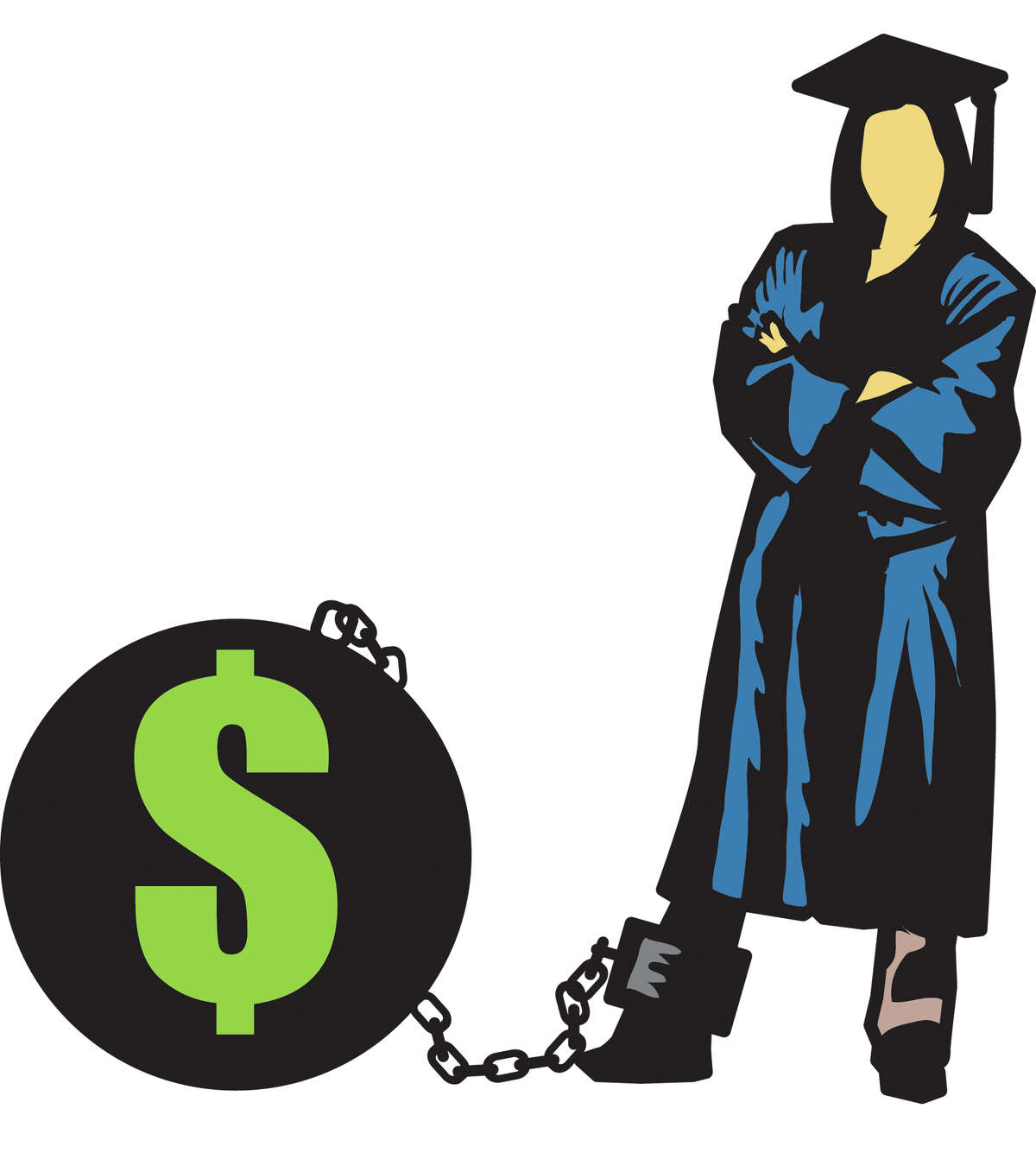 Illustration of college student with student loan debt