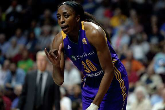 Los Angeles Sparks' Nneka Ogwumike during the first half of a WNBA basketball game against the Connecticut Sun, Thursday, May 26, 2016, in Uncasville, Conn. (AP Photo/Jessica Hill)