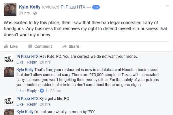 A Facebook screenshot exchanged between Pi Pizza and an open carry advocate after Pi Pizza doesn't allow open carry inside the restaurant.