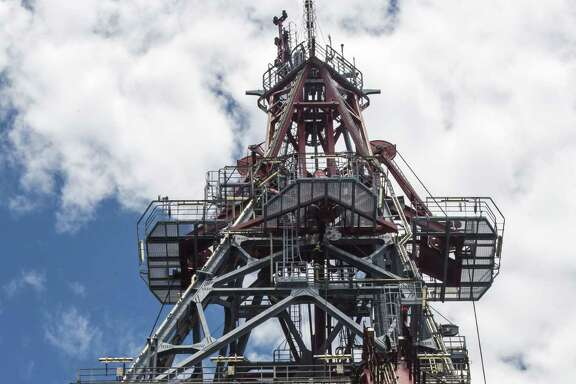 The drilling tower of La Muralla IV, an oil rig operated by the Mexican company Grupo R under contract with Pemex, Mexico's state oil company. Private investors have been able to bid on Mexico's oil resources since the government opened it up to bidding in 2014.