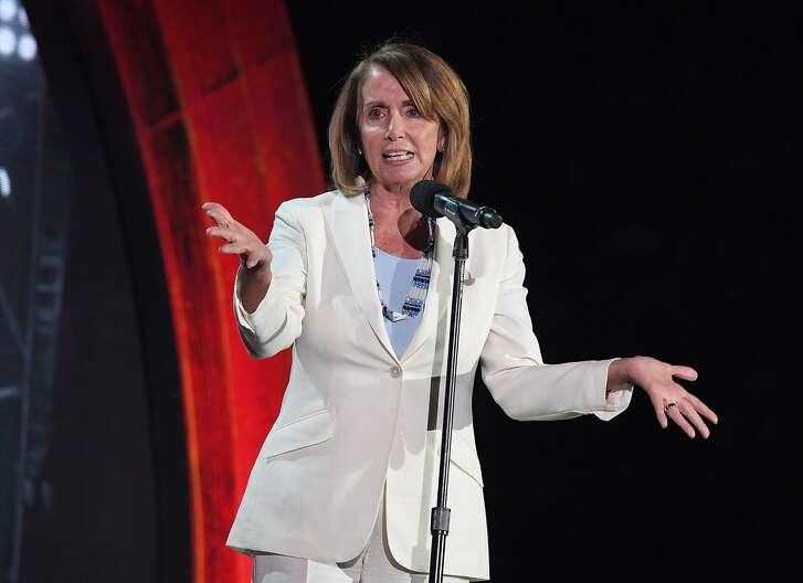 Congresswoman Nancy Pelosi speaks onstage at the 2016 Global Citizen Festival in Central Park to end extreme poverty by 2030 at Central Park on September 24, 2016 in New York City. / AFP PHOTO / ANGELA WEISSANGELA WEISS/AFP/Getty Images