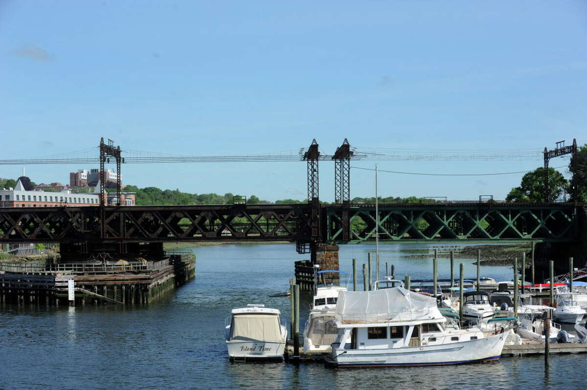 The Walk Bridge, the railroad swing bridge over the Norwalk River in Norwalk, Conn. rotates to allow large boats to pass.