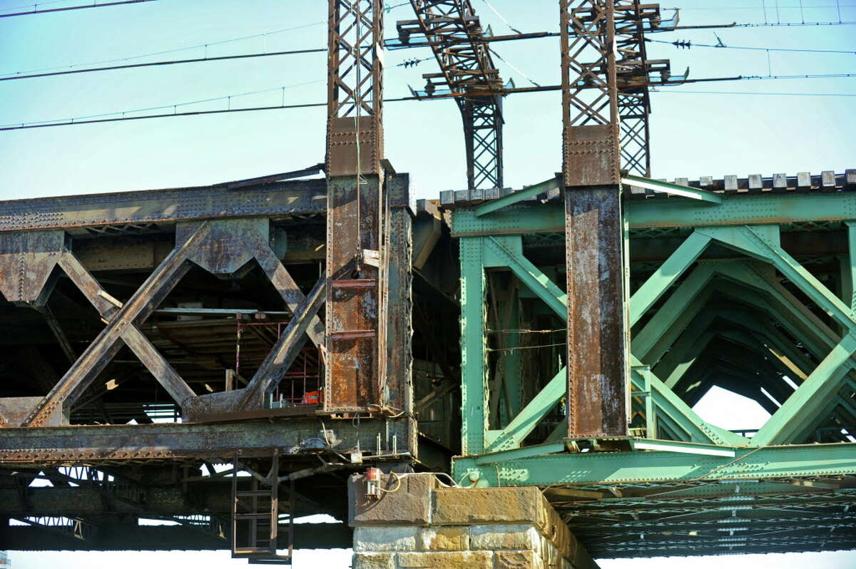 The Walk Bridge, the railroad swing bridge over the Norwalk River, rotates to allow large boats to pass.