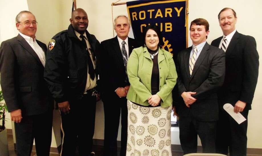 The Cleveland Rotary Club welcomed 75th District Court Judge Mark Morefield on Wednesday, Jan. 18. Morefield (third from left) was the guest of Cleveland Rotarian Kenneth Riggs (left). PIctured with them are John Davis, bailiff in Morefield's court, Rotary Club President Tracey Walters, Assistant District Attorney Logan Pickett and District Attorney Mike Little. Morefield spoke about efforts Liberty County judges have made to reduce the inmate population in the county jail, thereby reducing the expense to taxpayers.
