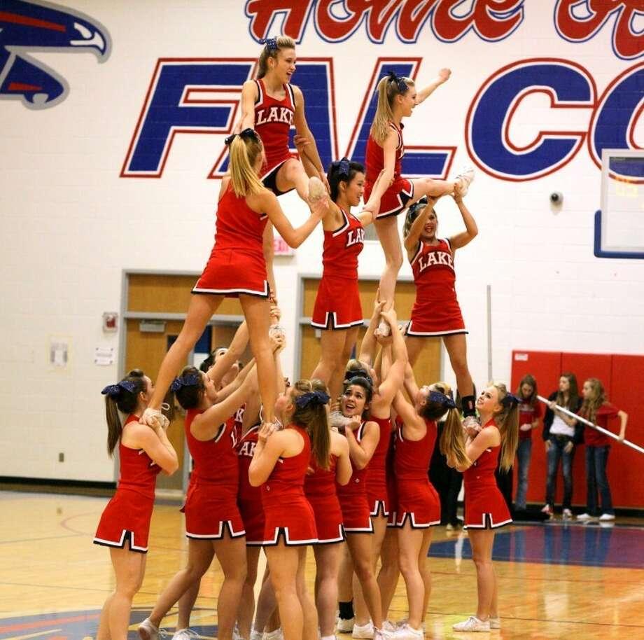 Clear Lake cheerleaders perform at halftime.