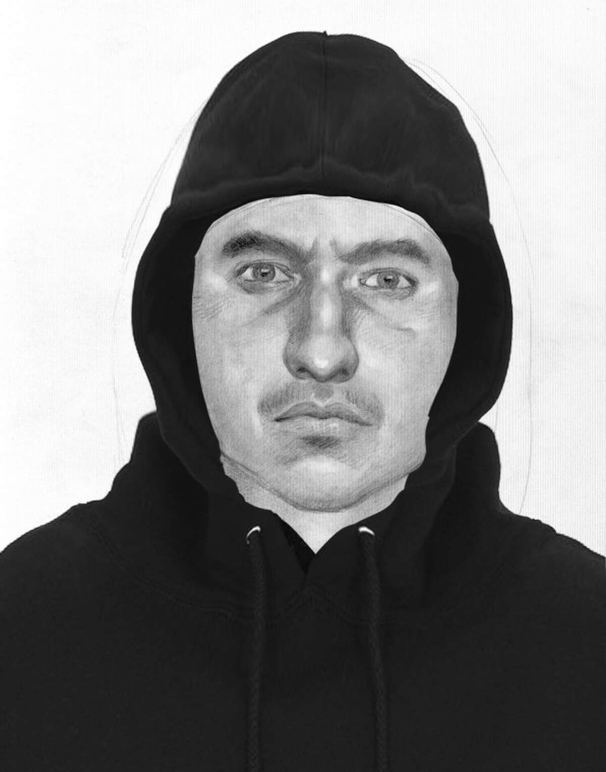The Montgomery County Sheriff's Office is searching for a while male with a sunburn-looking face, blue eyes and black eyebrows, wearing black pants, black shoes and a black pull over hoodie made of rain jacket material who allegedly sexually assaulted a juvenile Sunday in the   High Meadow Ranch Subdivision located in West Montgomery County.