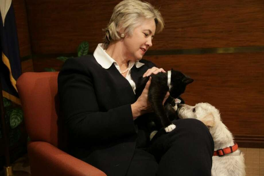 Houston Mayor Annise Parker with Coco and Sassy