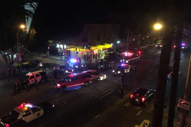 A 28-year-old man was hospitalized after a police cruiser hit him at 24th Street and Potrero Avenue, authorities said.