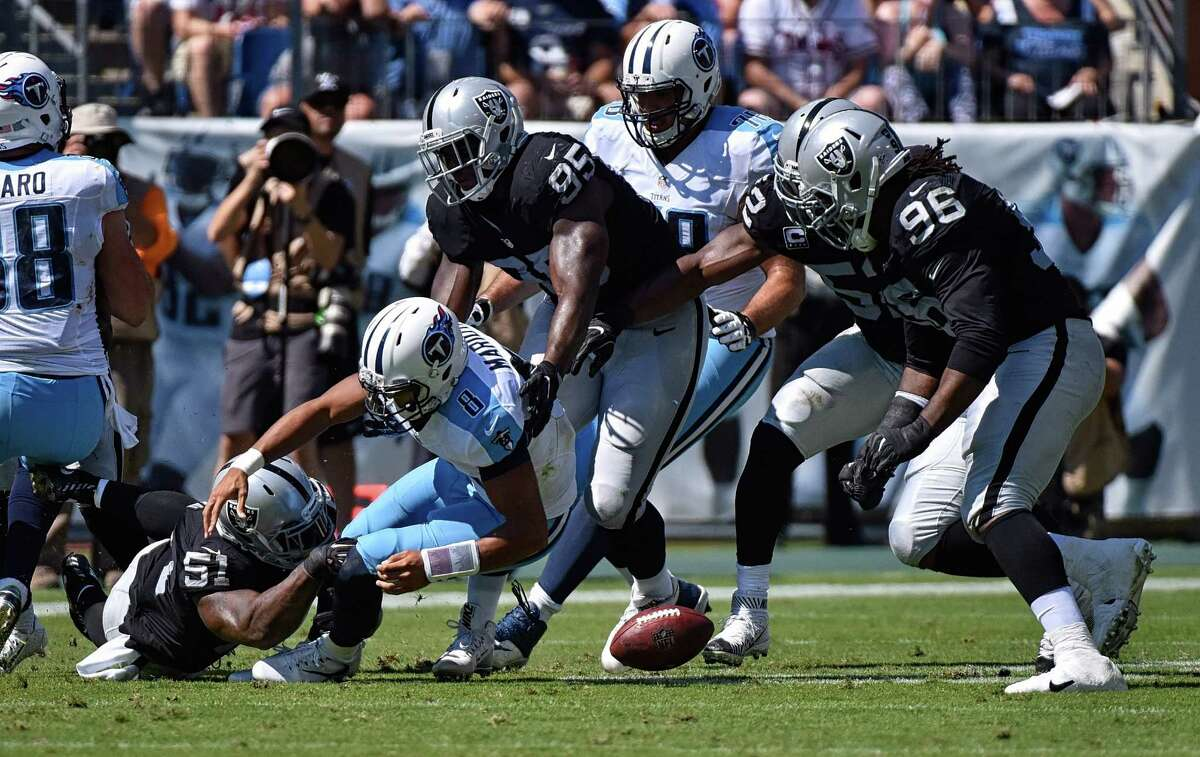 Ball security has been an issue for Titans quarterback Marcus Mariota (8), who has committed seven turnovers this season.