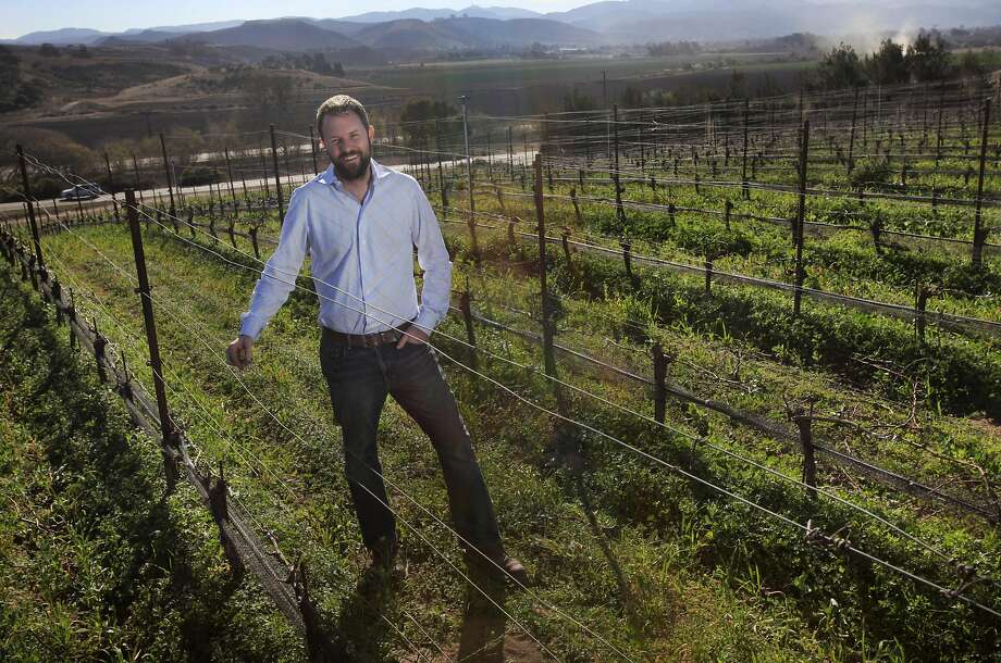 Riesling producer Graham Tatomer, pictured among some of his dormant vines in 2014 at the Duvarita vineyard in Santa Barbara County. Photo: Leah Millis, The Chronicle