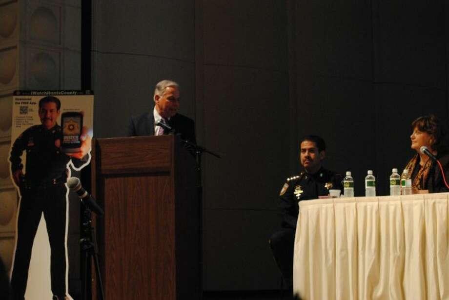 Congressman Gene Green, Sheriff Adrian Garcia and San Jacinto College North Campus President, Dr. Allatia Harris.